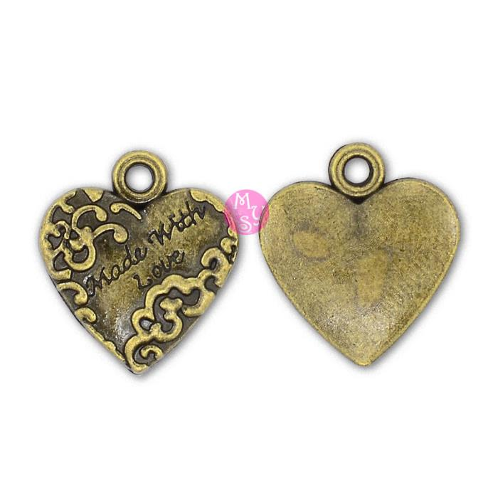 4 Charm bronzo cuore Made with Love con decorazione