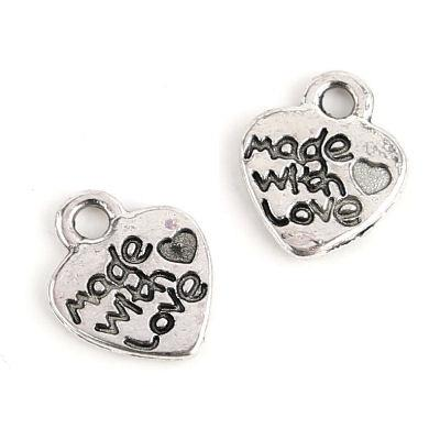10 Charm cuore made with love